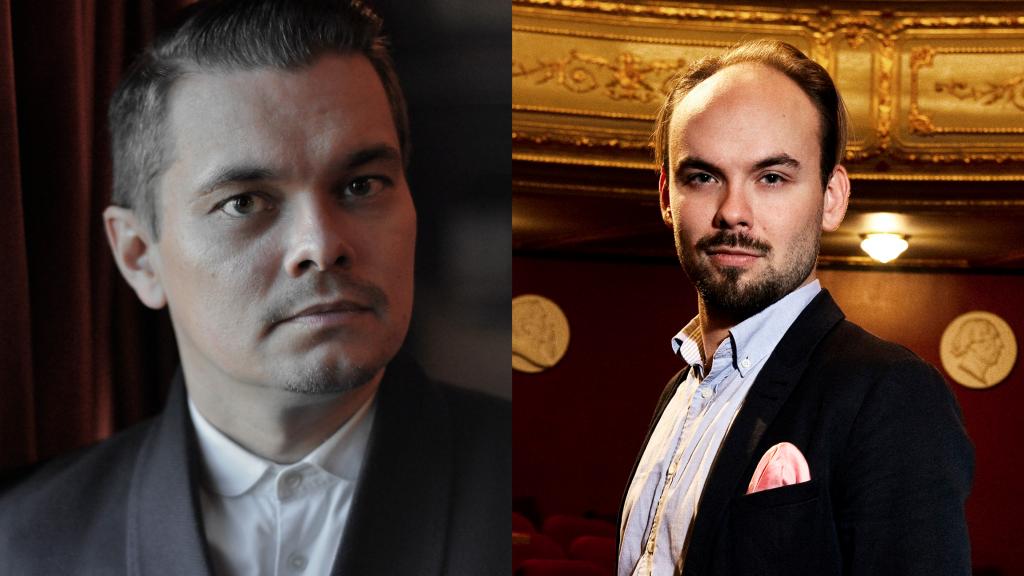 Kahden kuvan kollaasi: Tenori Tuomas Katajala ja kapellimestari Ville Matvejeff