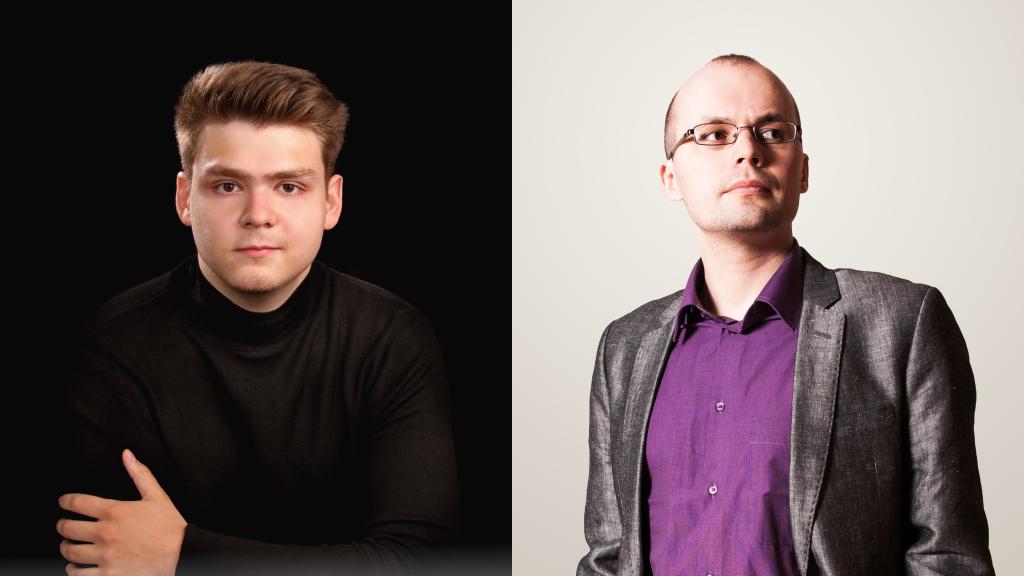Kahden kuvan kollaasi. Tummiin pukeutunut Stefan Astakhov istuu mustan taustan edessä. Toisessa kuvassa silmälasipäinen Kirill Kozlovski katsoo oikealle.